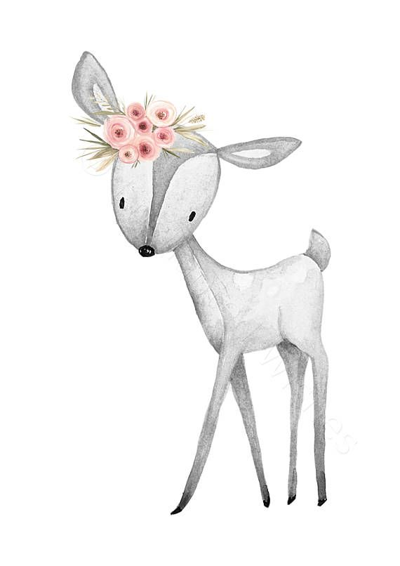 Graue Koralle rosa Kindergarten Drucke Set 3, grau Wald Tiere, Kindergarten Drucke, Wald Kindergarten Wandkunst, Floral Wald Fuchs Kaninchen Hirsch – Digga, lass mal