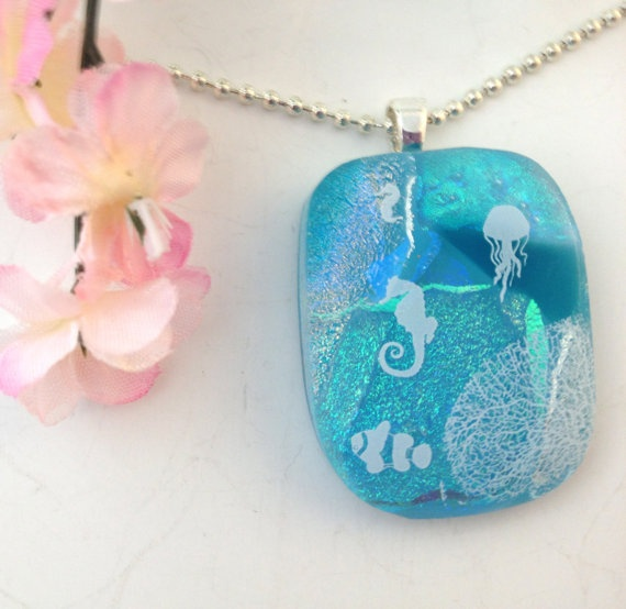 Dichroic Fused Glass Necklace Pendant by Mtbaldyglassworks on Etsy, $23.00