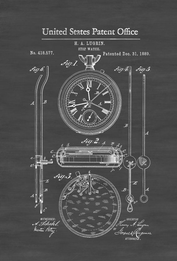 Lemania Stop Watch Patent 1889 - Patent Print Watch Art Stopwatch Clock Patent Pocket Watch Swimmer Gift Coach Gift Gift for Runner by PatentsAsPrints