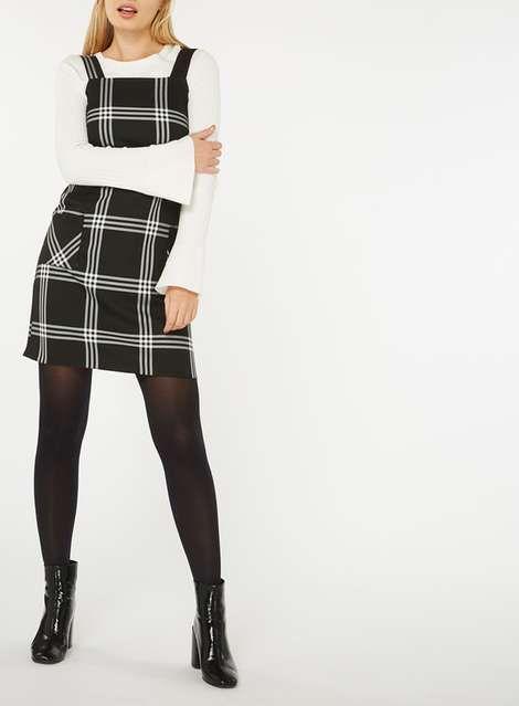 Master smart-casual workwear in a pinafore #pinaforedress #checkpinafore #DorothyPerkins