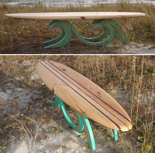 Surfboard Table....this would be cool if I could do it with a couple old snowboards :)