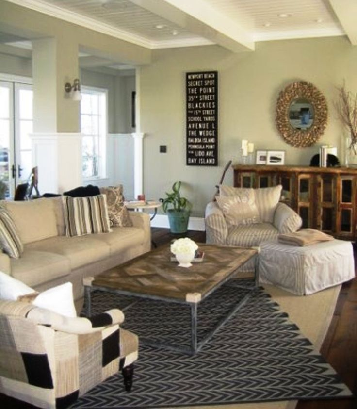 Cozy casual and beachy family room beach living for Casual family room decorating ideas