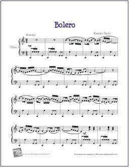 Boléro (Ravel) | Free Sheet Music for Piano - http://makingmusicfun.net/htm/f_printit_free_printable_sheet_music/bolero-piano.htm