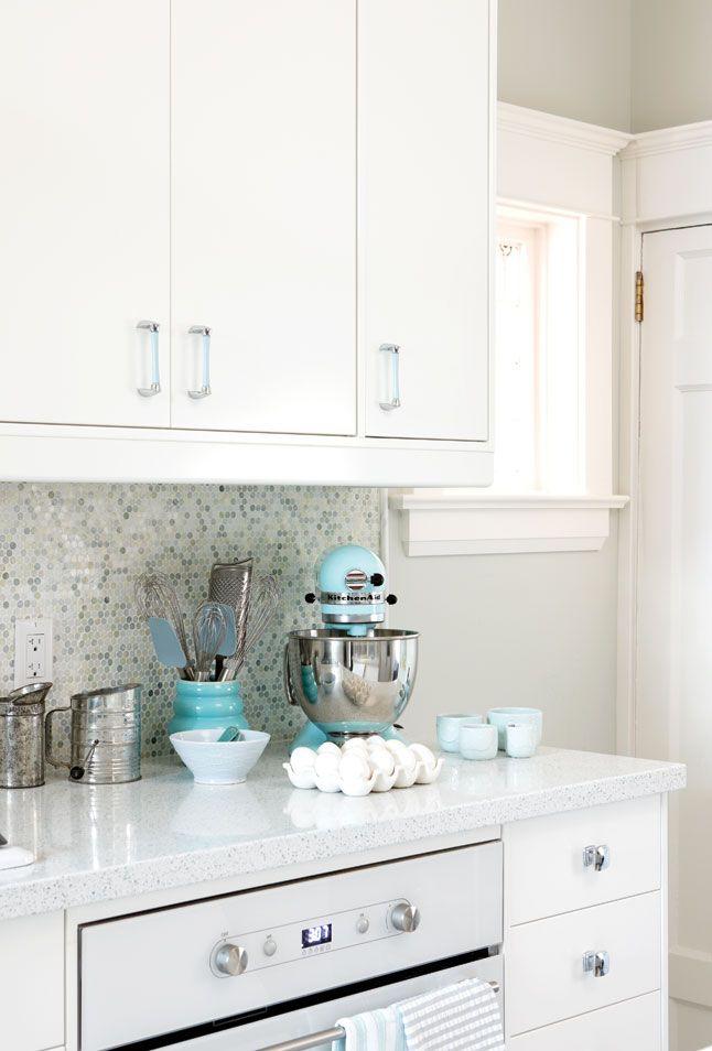 white-kitchen-with-blue-kitchen-aid-mixer-Sarah-Richardson-design - confetti backsplash