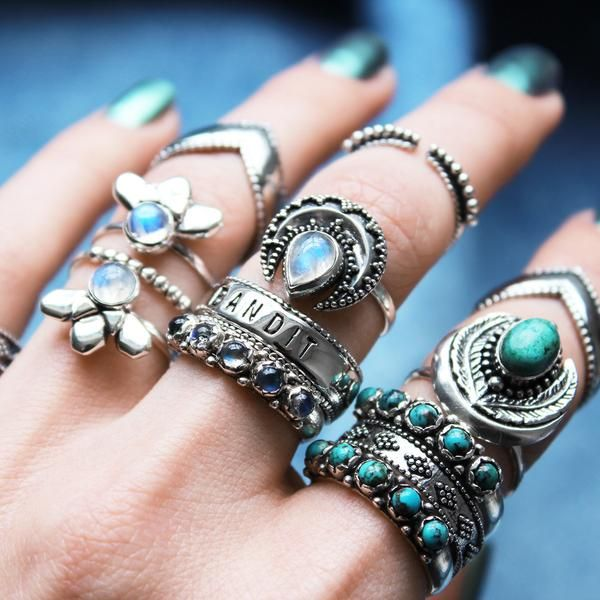 ❉ Mixing the badass and feminine with some fierce stackers in Sunset Lovers! ❉ ✒ Shop The Magic Now @ www.shopdixi.com // boho // bohemian // jewellery // jewelry // grunge // witchy // goth // gothic // hippie // badass // bandit // turquoise // blue // moonstone // crescent // moon // fierce