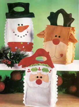 Felt Bags for Christmas gifts, Bolsas de fieltro para regalos de navidad ~ Portal de Manualidades