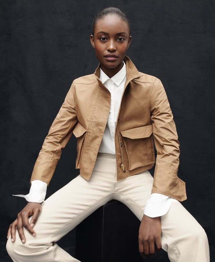 J.Crew women's cropped jacket, Thomas Mason® for J.Crew boy shirt and high-rise flare jean in Ecru.