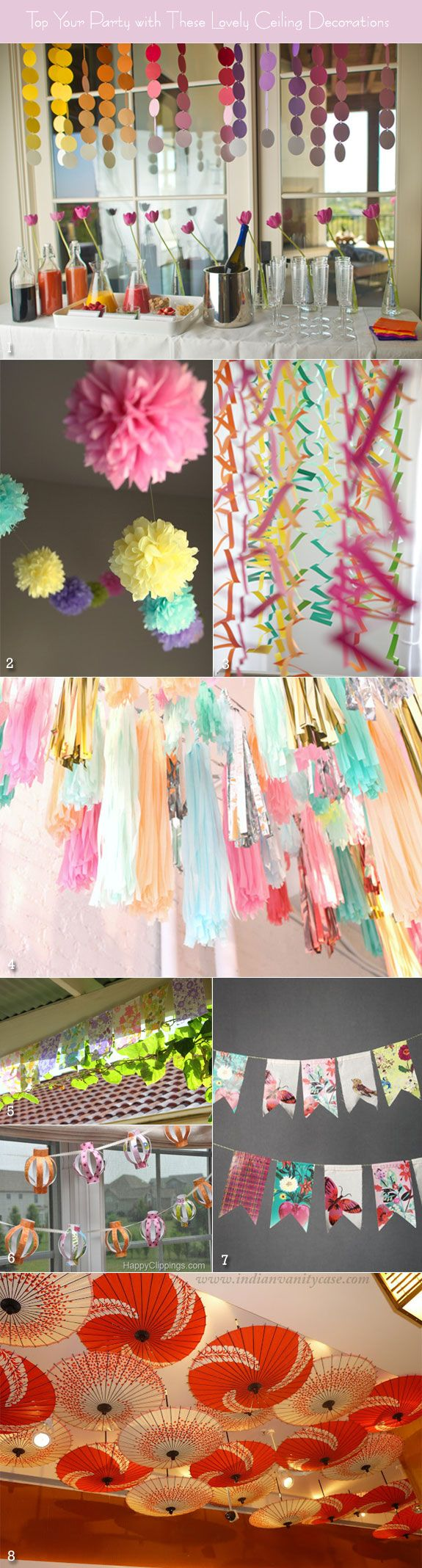 Paper decoration ideas for that DIY Wedding... Have friends, family & especially the kids help you out!