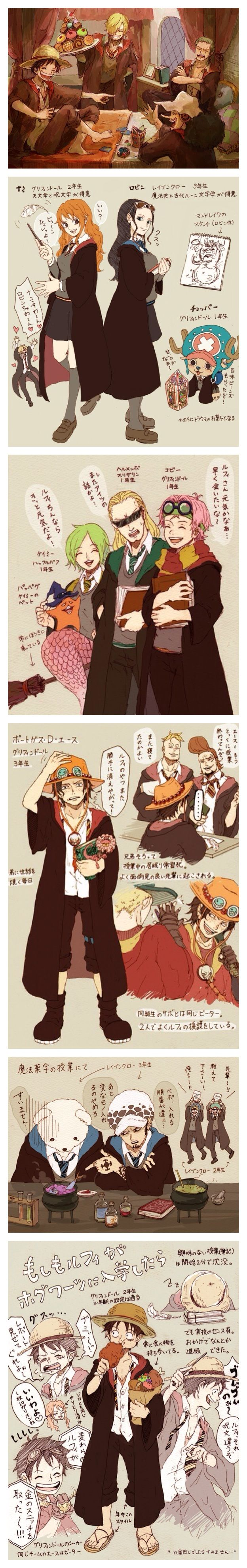 One Piece in Harry Potter. Two most series I like is together ♥ #hp #crossover #onepiece