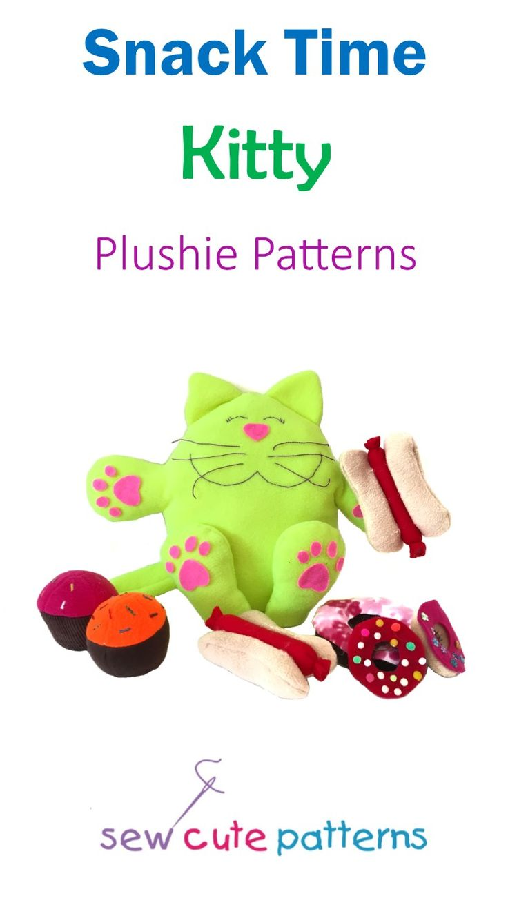 Plushie patterns include pattern pieces to make a plush cat and all her favorite snacks!  Easy patterns are perfect for beginners!  Instructions include step by step photos.    Sewing patterns are available for instant PDF download.  Plush food patterns include a hot dog, apple, donuts and cupcakes.  Cat pattern also includes a fun bedtime story for kids to make it even more fun and interactive.  Read the story of Kitty's Magic Cupcake and then make your own kitty and her magic cupcake!