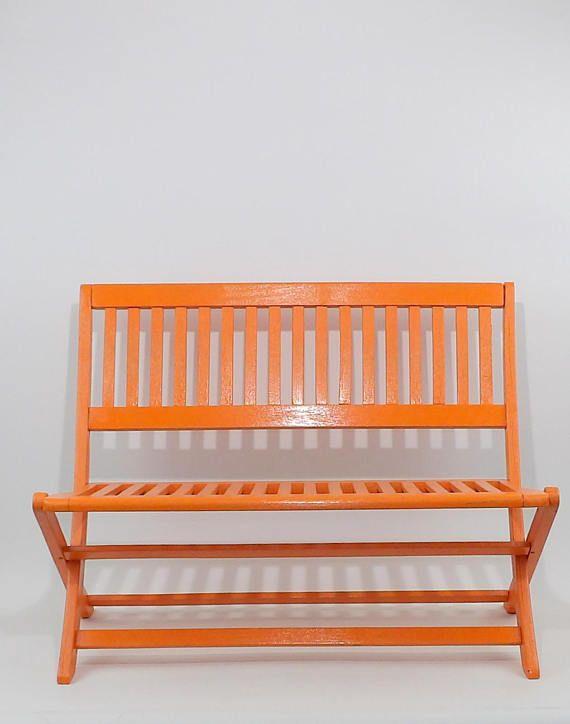 Solid Wood Orange Bench Https Www Etsy Com Listing 563868739 Orange Kids Bench Painted Vintage Teak Vintage Teak Chairs Kids Bench Teak Chairs