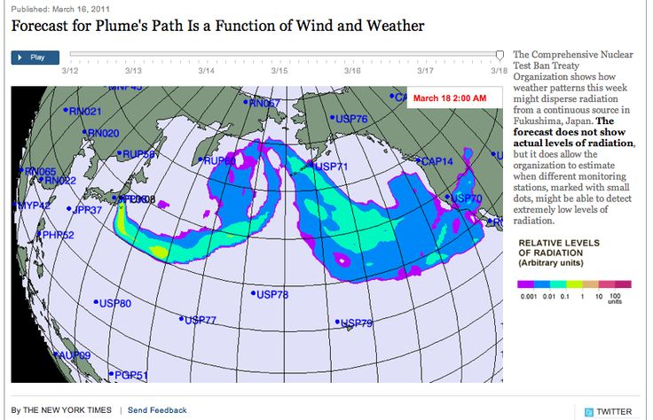 """Hillary Clinton's Email (March 12, 2011) Re. Fukushima Nuclear Catastrophe: """"STAY INDOORS, WEAR MASK, SHOWER IMMEDIATELY AFTER COMING HOME,…"""" PLUME-GATE  Radiation_plumePath_3dayForcast"""