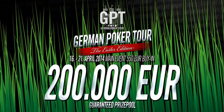 GERMAN POKER TOUR at King's Casino from Apr 16th to 21st. A massive prize pool of €200.000 is guaranteed for the €550 main event. The GPT series is by far the best deep stack structure you will find around Europe for a €550 buy-in. Players start with 50k in chips which is 500 big blinds.
