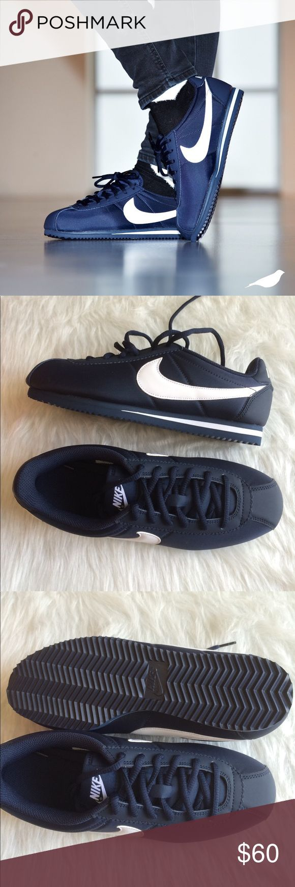NIKE CORTEZ NYLON SHOES NAVY BLUE WHITE Brand new without box. Ships same day or very next. 100% authentic. Comment if you have any questions before purchasing. Shoes are a youth size 7.y. Which is a women's size 8.5. I have added a sizing chart for reference. Nike Shoes Sneakers