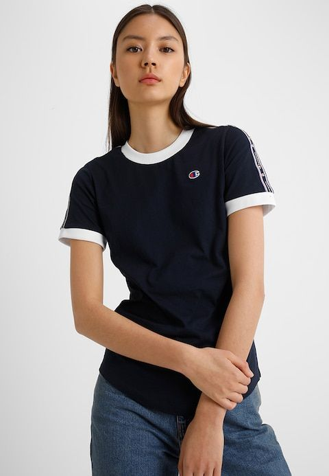 382095565 Champion Reverse Weave TAPED SLEEVE LARGE LOGO - T-Shirt print - navy white