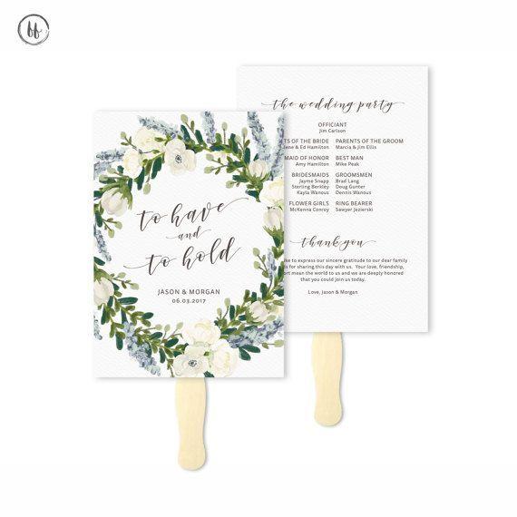 Printable Wedding Program PDF / Boho Programs / Wedding Fan Template / Wedding Paper Fans / Order of Service/ Wedding Timeline Template #IAF