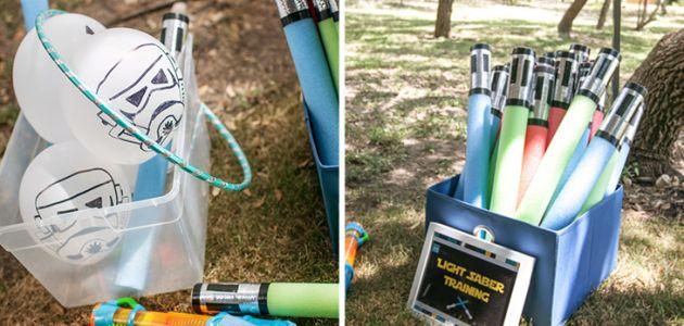Juegos para fiestas infantiles, globos del ejército imperial y espadas laser con churros de piscina