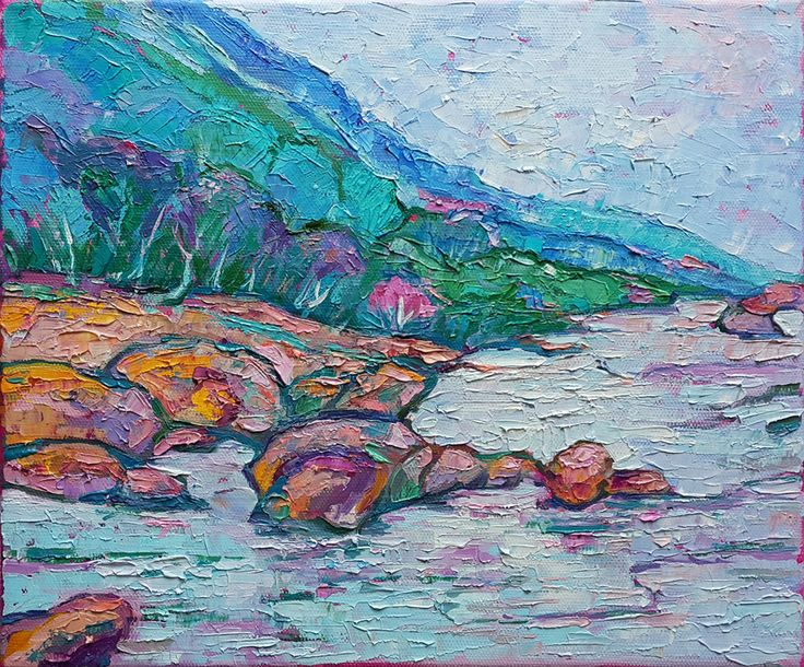 Живопись маслом мастихином. пейзаж горы река. Елена Федотова, 25х35, х/м Уроки рисования для взрослых уроки живописи для начинающих #artintent