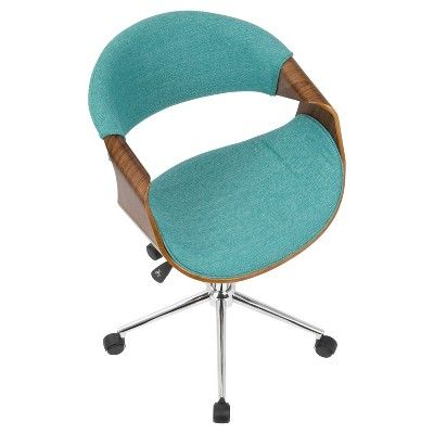 Curvo Mid Century Modern Office Chair Walnut And Teal Lumisource Blue Chair
