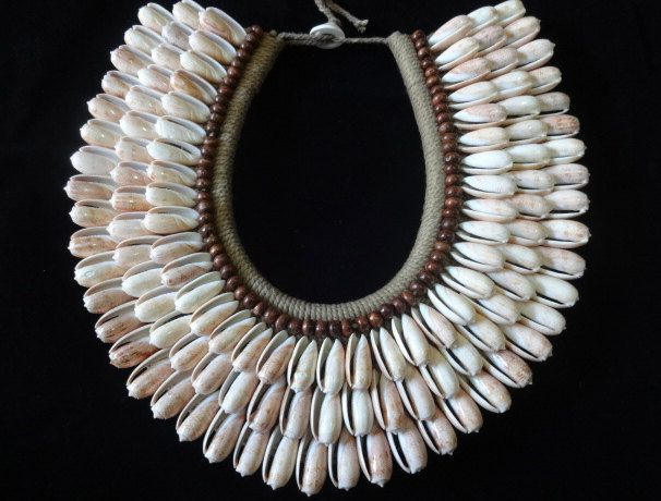 Smooth Beauty Cute White Shell Necklace Brown Beads Fashion Papua New Guinea Fashion Style by ubudexotica on Etsy
