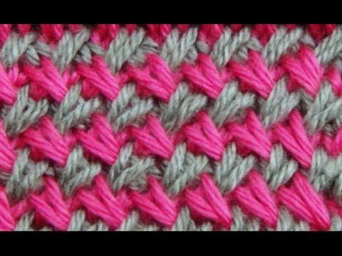▶ Cómo Tejer Punto Cruzado en Colores-Cross Stitch 2 Agujas (275) - YouTube