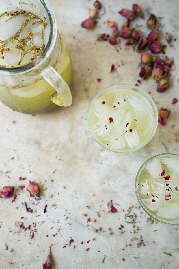 Iced Green Tea Recipe - Iced Green Tea - cold-brewed, accented with rose and a bit of whole coriander - such a pretty, warm weather refresher. - from 101Cookbooks.com