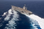 The crew of the aircraft carrier USS Harry S. Truman conducted a full power run and rudder swing checks during...