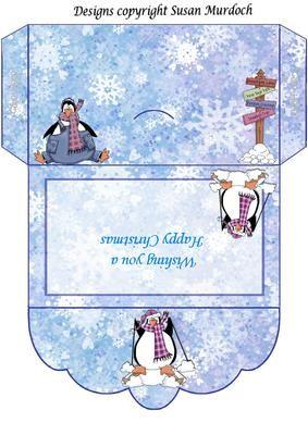 GIFT ENVELOPE MONEY WALLET PENGUINS on Craftsuprint - Add To Basket!