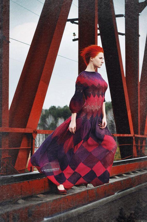 Dress knitted long boho gypsy color blocking Ripe by RuchkiKruchkI, $2800.00