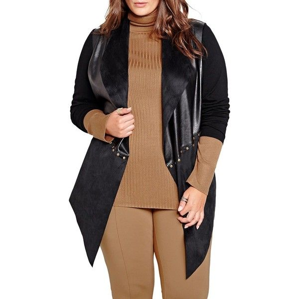 Addition Elle Michel Studio Michel Studio Faux Leather and Suede... ($118) ❤ liked on Polyvore featuring plus size women's fashion, plus size clothing, plus size tops, plus size cardigans, black, open front cardigan, faux leather top, faux leather long sleeve top, studded top and suede top