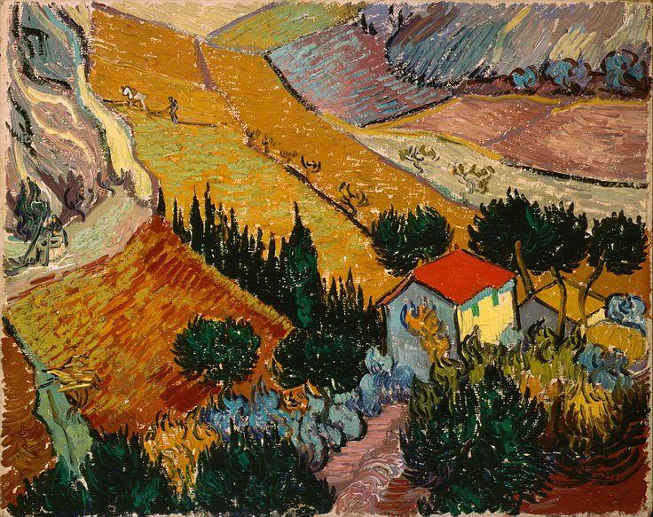 Гог, Винсент ван - Пейзаж с домом и пахарь (1889). высокое разрешение Часть 14. Описание картины, скачать репродукцию.