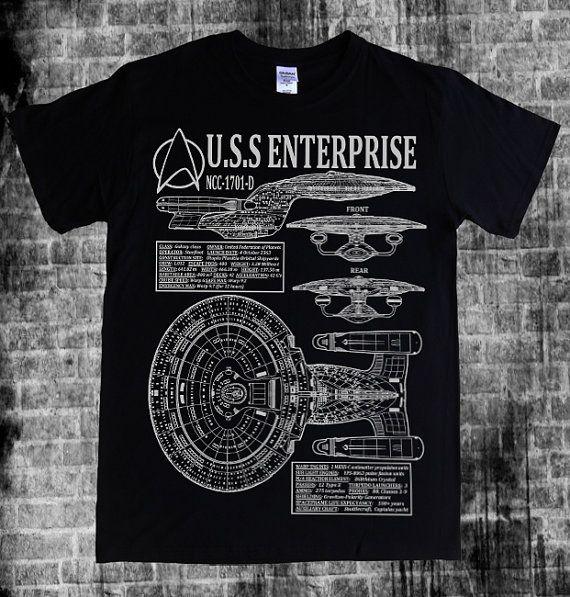 STAR TREK - The Next Generation Enterprise, NCC-1701-D Captain Picard, blueprints, schematics spec and stats T-shirt