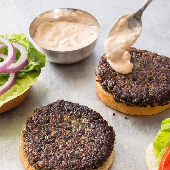 Americas test Kitchen Black Bean Burgers Chipotle Mayonnaise
