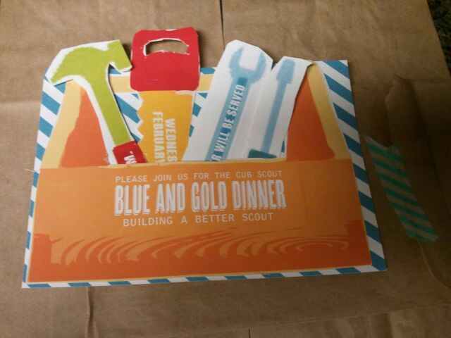 Blue and Gold Dinner Invites. Theme Tool Box and building theme. Having a build your own taco bar and sundae bar, and using the toolboxes the boys made as centerpieces.
