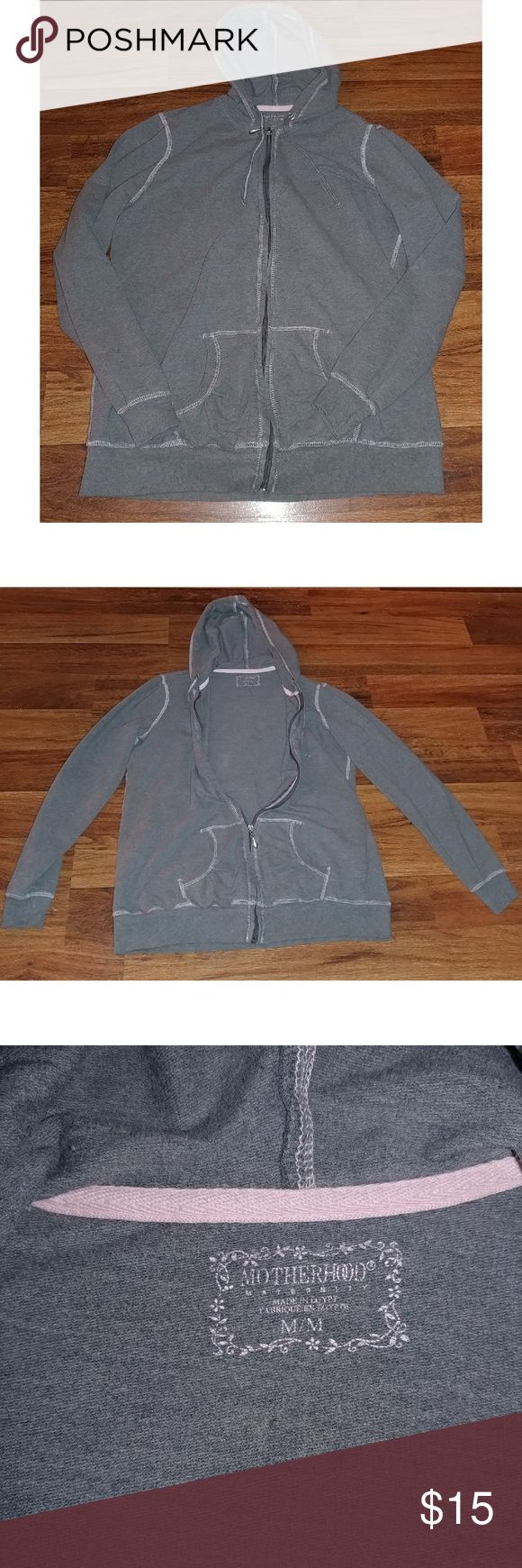 Motherhood Maternity Zip Up Hoodie Medium This light gray Motherhood Maternity Hoodie has light pink stitching and is a size medium. There is a pocket on the bottom on either side and it has a zipper. Very comfortable!  I usually ship the next day! Motherhood Maternity Tops Sweatshirts & Hoodies