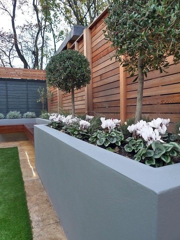 Garden Fence Colour Schemes In 2020 Modern Garden Modern Garden Design Small Garden Design