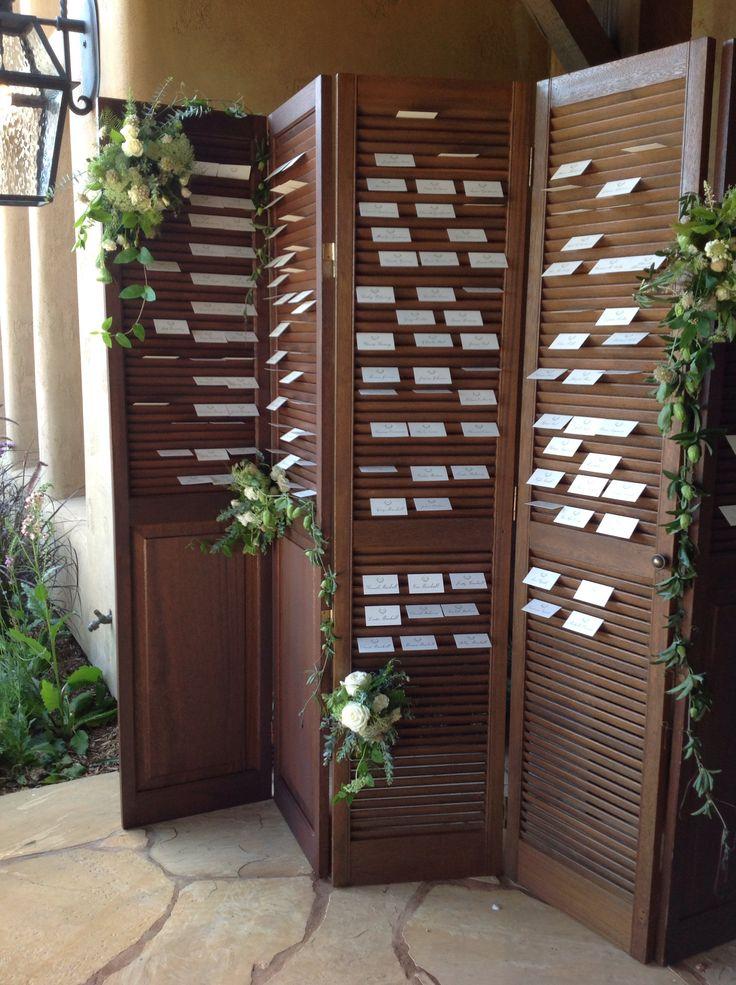 wedding table name card size%0A Rustic elegant shutters for escort cards  Fleurs de France   www fleursfrance com