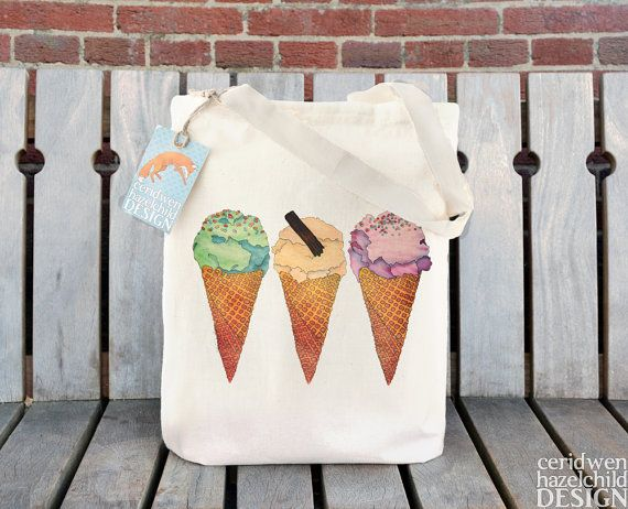 Ice Cream Tote Bag Ethically Produced Reusable by ceridwenDESIGN