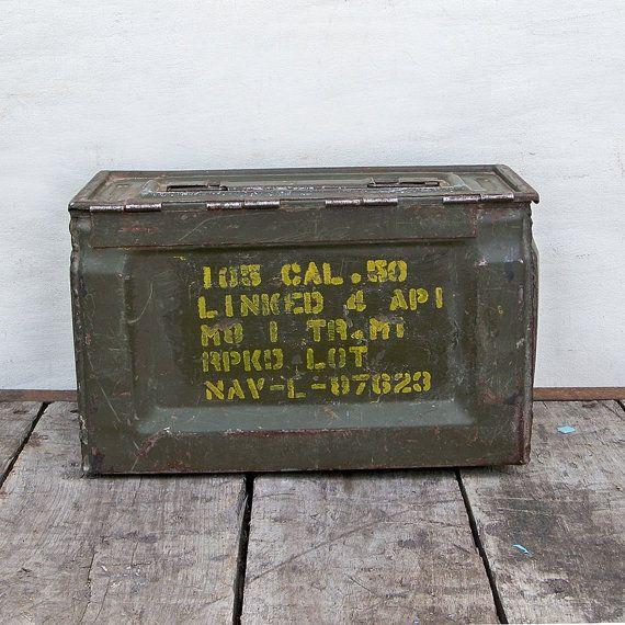 World War 2 U S Military Metal Ammunition Box 50