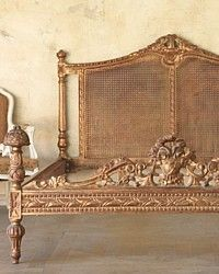 Fantastic Vintage Provincial Bed with Cane headboard. Lovely worn Gilt revealing the warm red underpaint in parts, shabby but oh! so glamorous. Beautifully carved by master carvers, this is a lovely ornate bed. Circa 1940. {Most likely fromone of the French Colonies}