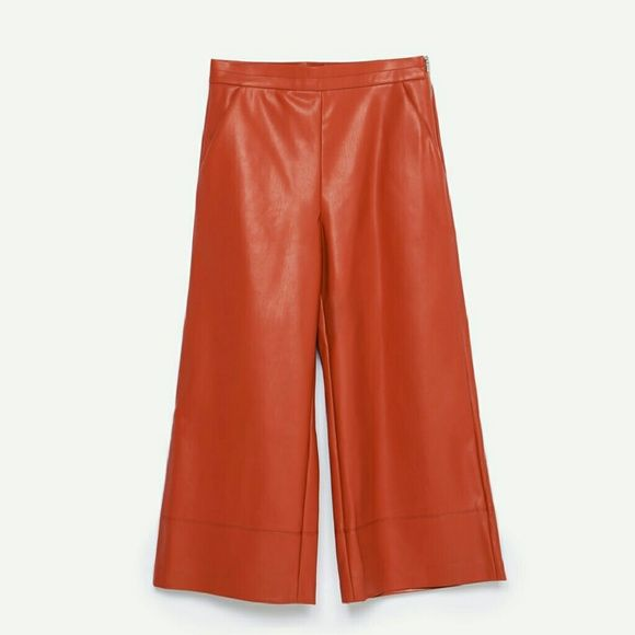 HP Zara faux leather trouser Get the look! First pic for style purposes! Super cute cropped trouser pants. Burnt orange color. Dress it up as in the first pic. Amazing!! Zara Pants Trousers