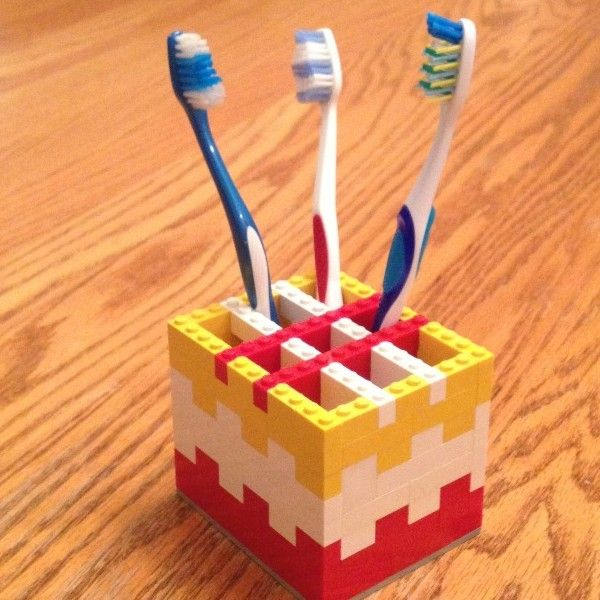 #LEGO Toothbrush holder.  I am loving the useful and fun things a boy can make from LEGO.  Wouldn't this be neat in his bathroom?