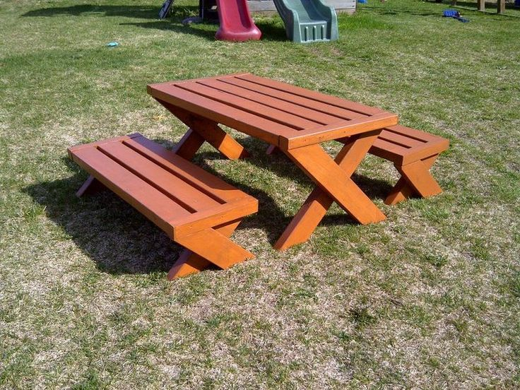 Ana White | Modern Kid's Picnic Table and is two X Benches - DIY Projects