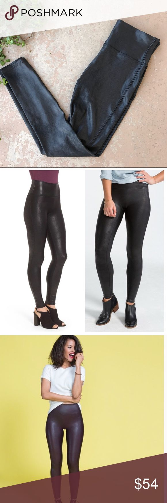 Spanx Black Coated Faux Leather Leggings In excellent condition Spanx black leggings with a coated/shiny faux leather look. Size large. SPANX Pants Leggings