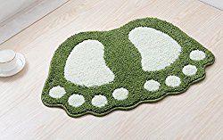 YJ Bear Lovely Big Feet Pattern Anti-slip Microfiber Doormat Solid Non-Slip Area Rug Carpet Floor mat Soft Entry Mat for Home Bedroom Green 16″ X 24″