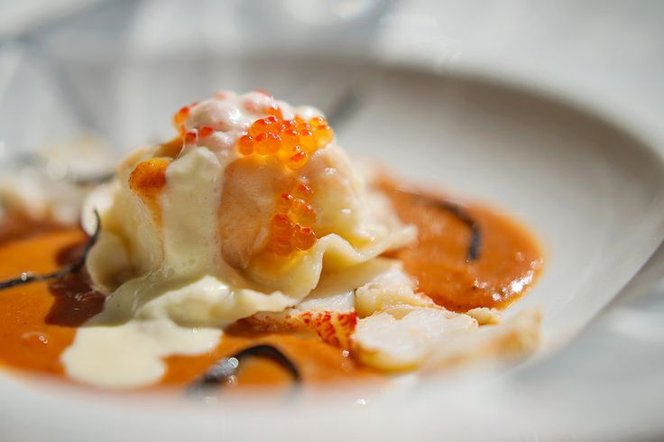 Raviolo of baked Thyme and Crayfish. New on #ShimmyWinterMenu Shimmy Beach Club restaurant with gorgeous ocean views. www.shimmybeachclub.com to book