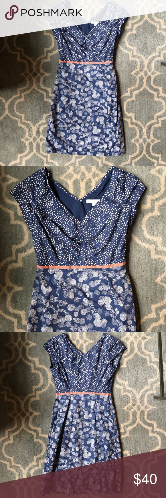 """BODEN Blue White Pink Print Cotton Petite Dress Boden blue, white, and salmon pink print dress. Boden is a British brand 🇬🇧  ❥  Worn twice  ❥  Size 2P (professionally tailored to fit like a 00)  ❣ No trades. No PayPal. No holds. ❣ ❣ For offers, use the """"Offer"""" button below. ❣ Boden Dresses"""