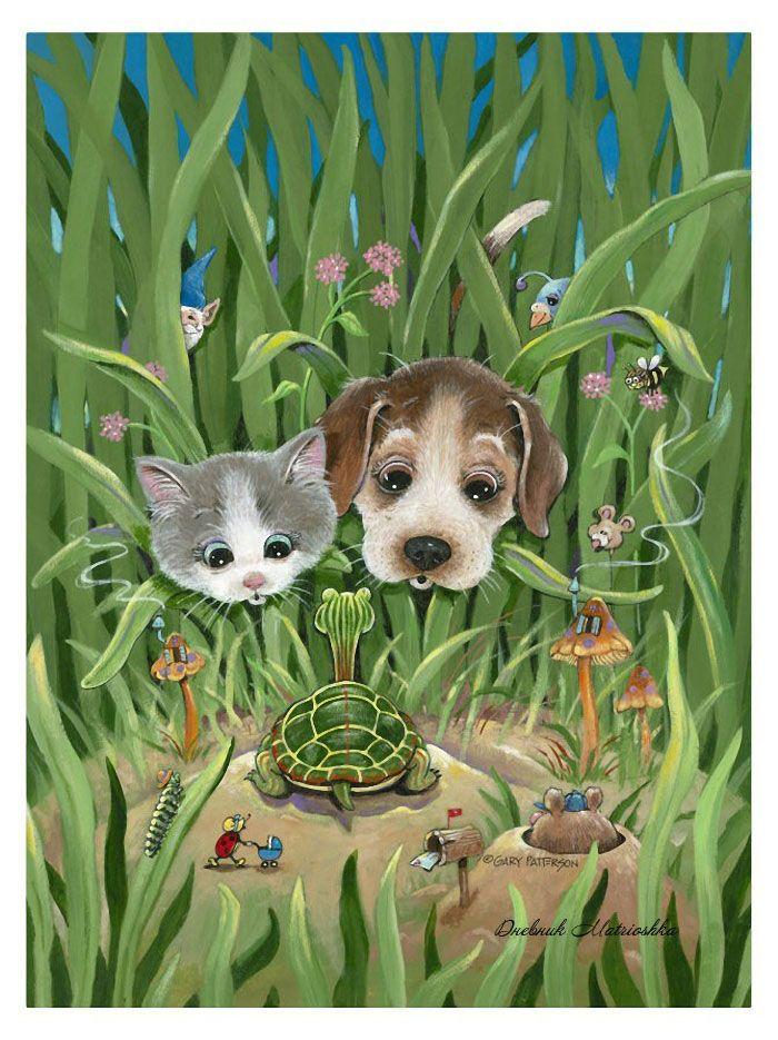 Картинки, прикольные картинки с собаками и кошками нарисованные