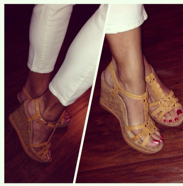 White pants and wedge shoes.. Summer attire (report wedge sandals from stein mart)
