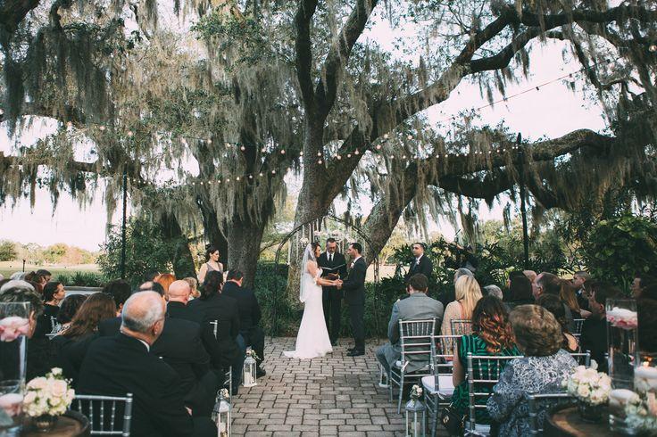 Wedding ceremony decor on the courtyard at Historic Dubsdread Ballroom